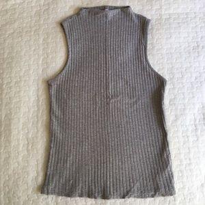 [SALE] ZARA Gray Ribbed Mock Neck Top